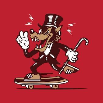 Wolf character design skateboarding character design