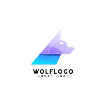 Modello di progettazione logo colorato lupo