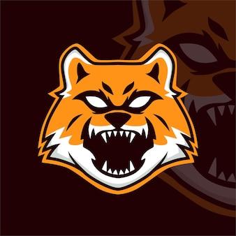Logo della mascotte del gioco wolf esport