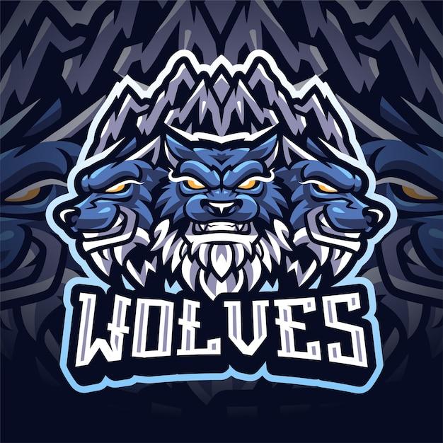 Logo della mascotte di wolf esport