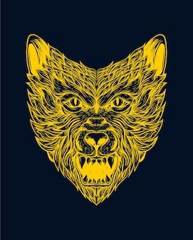 Illustrazione di arte della linea del viso di lupo