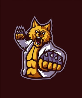 Wolf fighter sports logo
