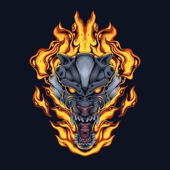 Cyborg del fuoco del lupo