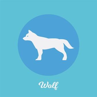 Disegno dell'icona piatto lupo, elemento simbolo logo