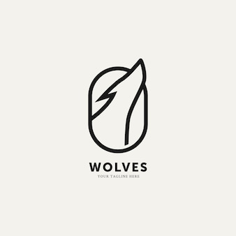 Lupo piatto minimalista linea arte logo modello illustrazione vettoriale design semplice logo moderno concept