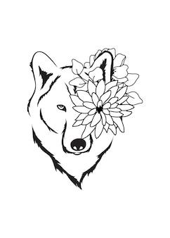 Disegno semplice di testa di fiore di lupo