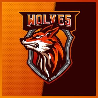Lupo volpe sciacallo mascotte esport logo design illustrazioni modello, logo volpe stile cartone animato