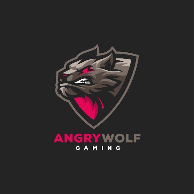 Design del logo sportivo di gioco del lupo