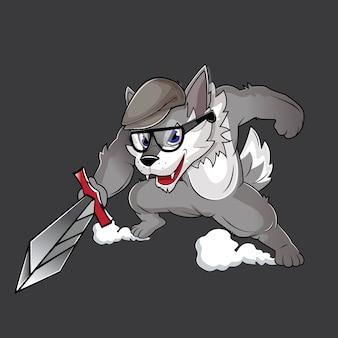 Lupo grigio con una spada da cavaliere