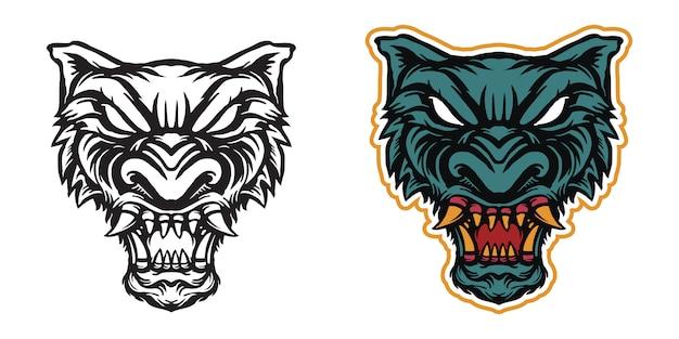 Illustrazione di arte testa di lupo per merchandising adesivo o abbigliamento