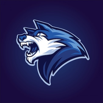Testa di lupo blu Vettore Premium