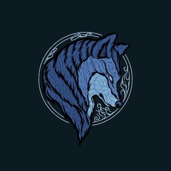 Il disegno della testa di lupo illustrazione