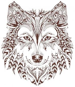 Testa di lupo in stile etnico Vettore Premium