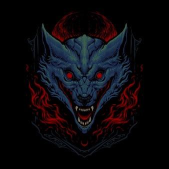 Il disegno dell'illustrazione della testa di lupo