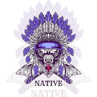 Testa di lupo indiano nativo
