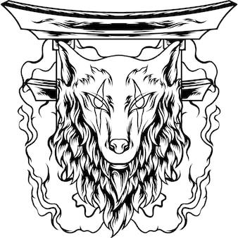 Testa di lupo giappone con silhouette di fuoco