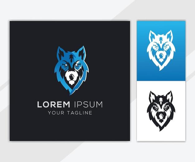 Modello di logo di testa di lupo