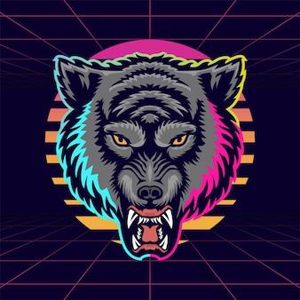 Illustrazione della mascotte della testa di lupo