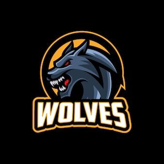 Testa di lupo mascotte moderna logo sportivo e squadra