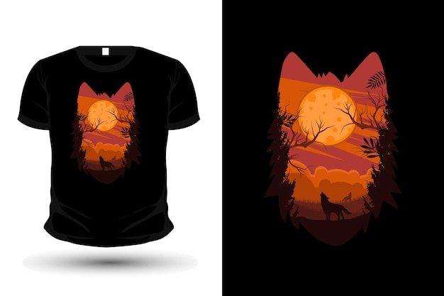 Disegno della maglietta della siluetta della natura della testa di lupo