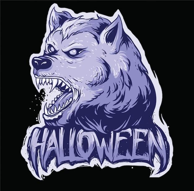 Testa di lupo spaventoso faccia halloween testo design