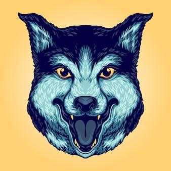 Wolf head smiley illustrazioni vettoriali per il tuo lavoro logo, t-shirt di merce mascotte, adesivi e design di etichette, poster, biglietti di auguri che pubblicizzano società o marchi.