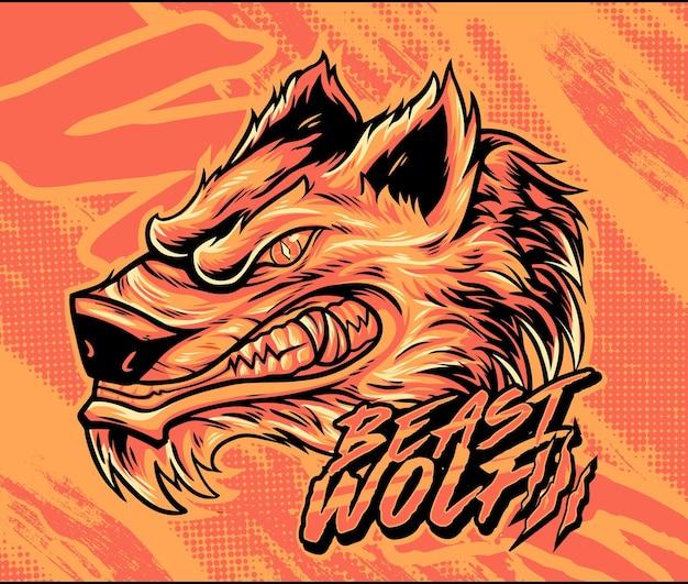 Modello di maglietta vettoriale testa di lupo modello di maglietta di lupo