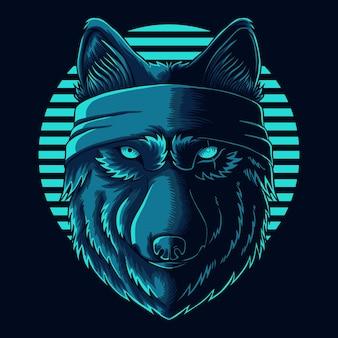 Illustrazione vettoriale di bandana di usura della testa di lupo