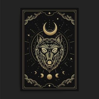 Testa di lupo con falce di luna in lussuoso stile di incisione celeste