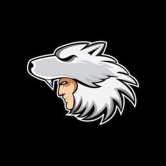 Logo della mascotte helmet wolf Vettore Premium