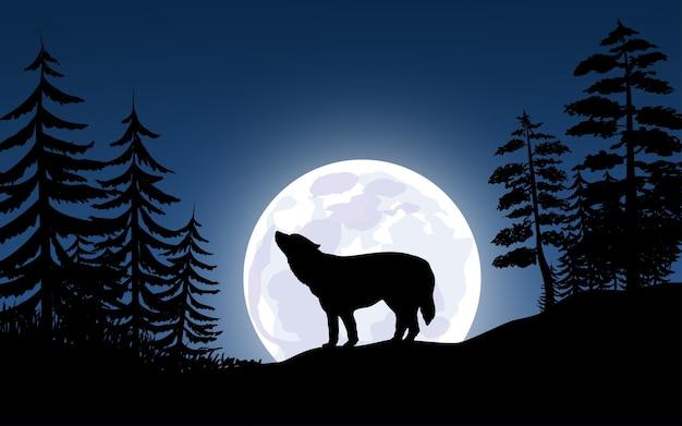 Lupo che ulula nella luna piena
