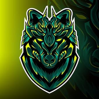 Vettore del logo della mascotte del gioco del cacciatore di lupi
