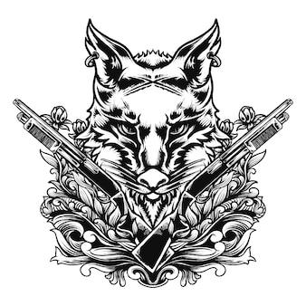 Illustrazione del cacciatore di lupi