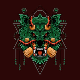 Illustrazione di lupo con geometrica