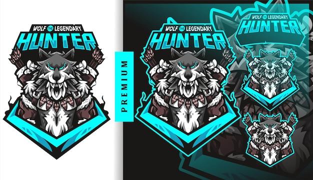 Logo della mascotte del gioco del calcio del cacciatore leggendario del lupo