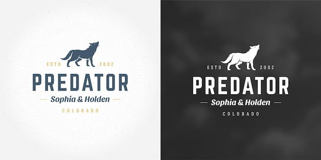 Siluetta dell'illustrazione di vettore dell'emblema del logo del lupo per maglietta o timbro di stampa. distintivo di tipografia vintage o design di etichette.