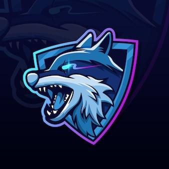 Design di esport logo lupo