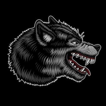 Logo del lupo isolato su oscurità