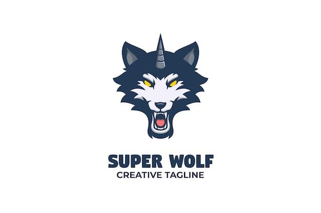 Illustrazione del logo della mascotte del logo del lupo