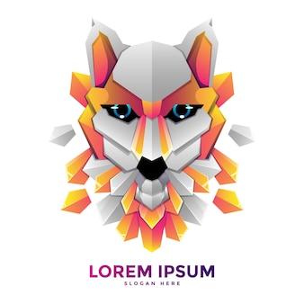 Modello di logo di lupo