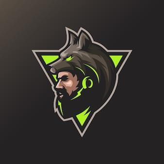 Design del logo dell'uomo lupo per il tuo sport