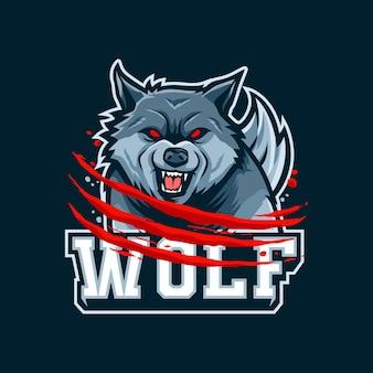 Logo mascotte lupo per esport e sport