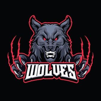 Modello di logo mascotte lupo per esport e squadra sportiva logo