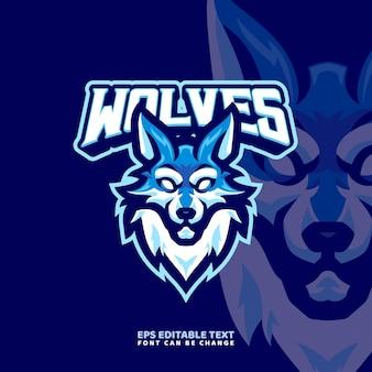 Modello di logo della mascotte del lupo