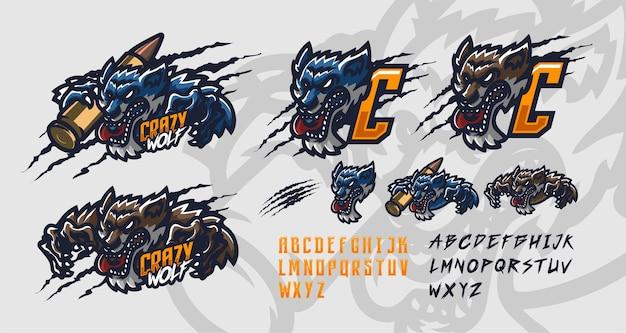 Modello di logo mascotte premium lupo