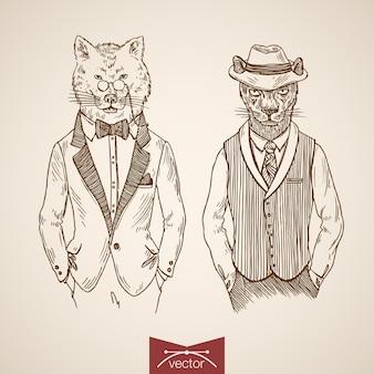 Lupo puma uomini d'affari animali hipster stile abbigliamento umano accessori monocolo occhiali cravatta icona set.