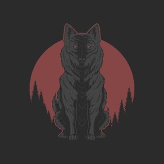 Lupo e luna rossa illutration