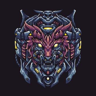Illustrazione di testa di robot lupo