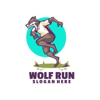 Modello di logo della corsa del lupo