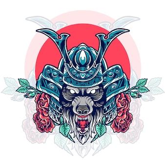 Testa di samurai lupo con rose